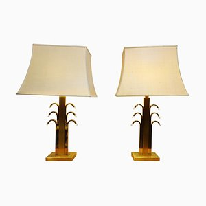 Vintage Brass and Glass Table Lamps, 1970s, Set of 2