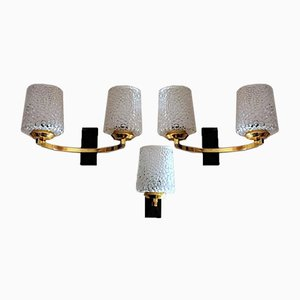 Brass and Half Crystal Sconces in the Style of Maison Arlus, 1957, Set of 3