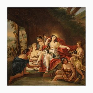 Antique French Diana with the Nymphs in the Bath, 19th Century, Painting