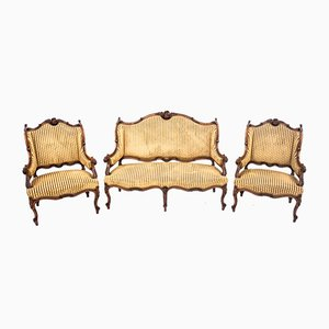 Antique French Dining Chairs, Set of 3
