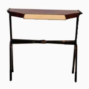Leather and Black Lacquered Rosewood Console Table, 1950s