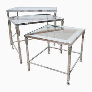 Mid-Century French Metal and Glass Nesting Tables