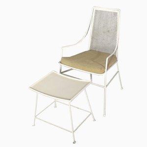 Sedia e poggiapiedi vintage in metallo, anni '50