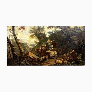 Scuola fiamminga, raffigurante una vivace scena di persone e animali, XIX secolo, olio su tela