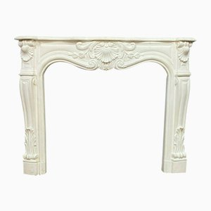 Louis XV White Plaster Curved Fireplace, 1930s