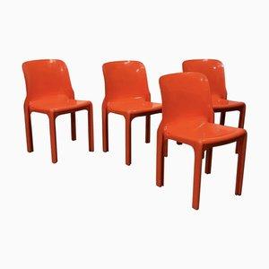 Orangefarbene Selene Esszimmerstühle von Vico Magistretti für Artemide, 1970er, 4er Set