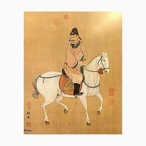 Escuela orientalista, que representa a un soldado y su caballo, siglo XX, acuarela grande