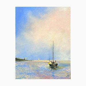 Englische Schule, Marinezeichnung, 20. Jahrhundert, Öl auf Holzplatte