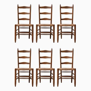 Mid-Century French High Back Rush Dining Chairs, 1940s, Set of 6
