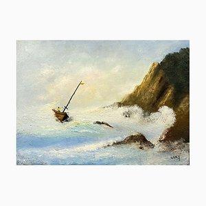 Scuola di inglese, raffigurante una marina B, XX secolo, olio su pannello