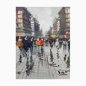 Savialle, Place parisienne, huile sur toile