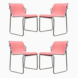 Italian Chromed Steel & Pink Fabric Dining Chairs, 1970s, Set of 4