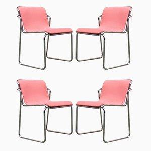 Italienische Esszimmerstühle aus Verchromtem Stahl & Rosa Stoff, 1970er, 4er Set
