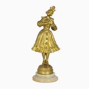 G Omerth, mujer con máscara, modernista, siglo XX, bronce dorado