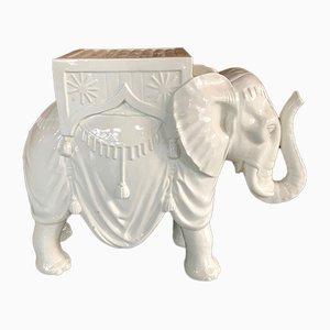 Weißer keramischer Elefant, 1950er Jahre
