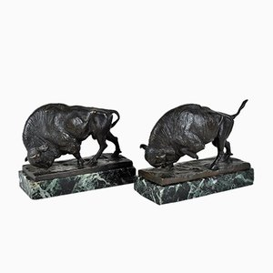 Alta Wille, Bisons 2 Bronze and Marble Sculpture, Early 20th Century