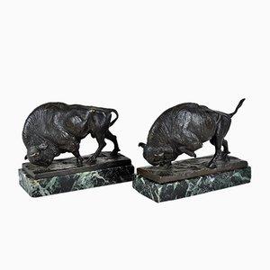 Alta Wille, Bisons 2 Escultura de bronce y mármol, principios del siglo XX