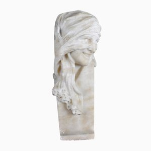 Bust in Alabaster, Veiled Woman with Eyes, 1900s