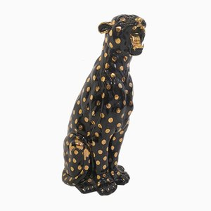 Italienische Keramik-Geparden-Skulptur, 1970er Jahre