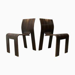 Chaises de Salon Empilables en Bois Courbé par Gijs Bakker, 1980s, Set de 2