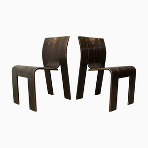 Stackable Bentwood Strip Dining Chairs by Gijs Bakker, 1980s, Set of 2