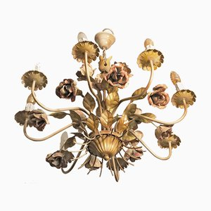 Italian Painted Tole Chandelier with Roses & 8 Lights
