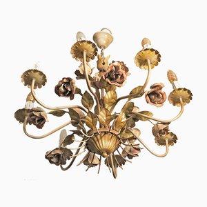 Italienischer Lackierter Kronleuchter aus Rosenholz & 8 Leuchten