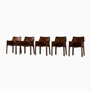 Model 413 Patinated Cognac Leather Armchairs by Mario Bellini for Cassina, 1977, Set of 5