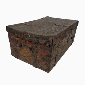 Trunk In Embossed Leather With Polychromy