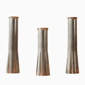 Mid-Century French Rocket-Shaped Candleholders, Set of 3