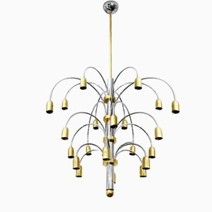 Italian Chrome and Brass Chandelier by Gaetano Sciolari, 1960s