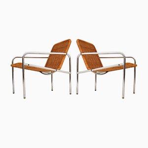 Vintage Steel and Rattan Armchairs by Dirk van Sliedregt, 1960s, Set of 2