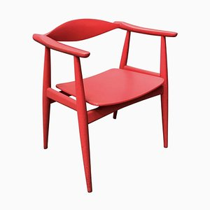 Red Painted Wood Side Chair by Hans J. Wegner, 1960s