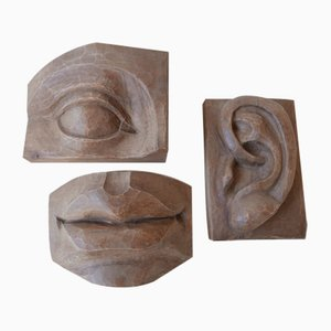Mid-Century Carved Wooden Abstract Face Artwork Sculptures, Set of 3