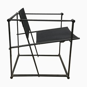 FM62 Cube Lounge Chair in Black Linen by Radboud Van Beekum for Pastoe, 1980