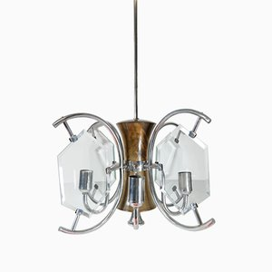 Nickel Plated Art Deco Chandelier of Walnut with Cut Glass Panels, 1930's