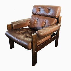 Mid-Century Vintage Danish Leather Armchair, 1970s