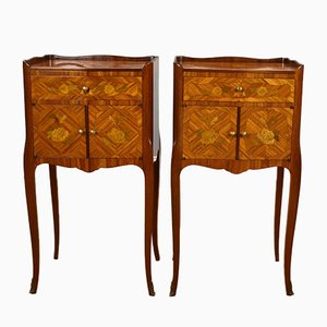 Louis XVI Style Marquetry Inlaid Bedside Cabinets, Set of 2