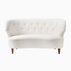 Curved Love-Seat Boucle Sofa by Carl Johan Boman, 1940s