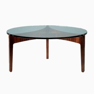 Mid-Century Round Rosewood & Glass Coffee Table by Sven Ellekaer for Christian Linneberg