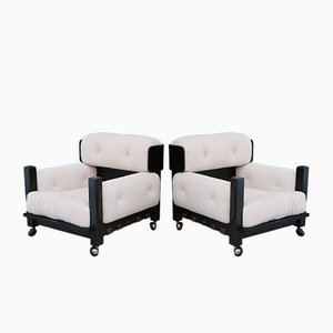 Italian Armchairs in Bouclé Fabric White and Black Wood, 1960s, Set of 2