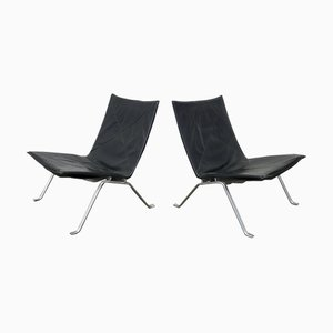 Model PK22 Black Leather Lounge Chairs by Poul Kjærholm for E. Kold Christensen, 1960s, Set of 2