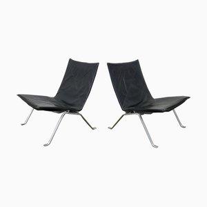 Modell PK22 Lounge-Stühle aus schwarzem Leder von Poul Kjærholm für E. Kold Christensen, 1960er Jahre, 2er-Set