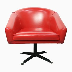 Fauteuils Pivotants Rouges, 1960s, Set de 2