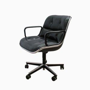 Chaise de Bureau de Direction Vintage en Cuir par Charles Pollock pour Knoll Inc. / Knoll International