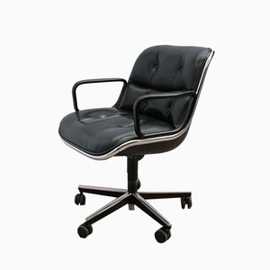 Vintage Leather Executive Desk Chair by Charles Pollock for Knoll Inc. / Knoll International