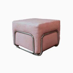 Pink Cubic Ottoman with Chromed Steel Structure, 1970s