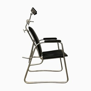 Barber or Dentist Chair in Black Corduroy, 1960s