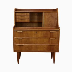 Danish Teak Secretaire with Mirror, 1960s