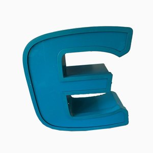 Aluminum and Plexiglass Letter E, 1970s